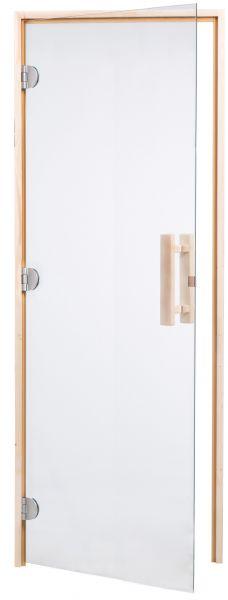 Saunatür DS40-740 klarglas 3-seitiger Rahmen, Bänder links oder rechts