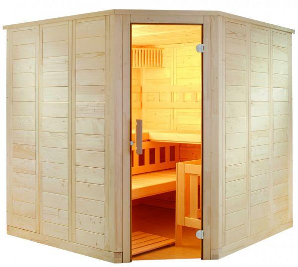Sauna Wellfun Corner aus hochwertiger Linde 206x206x204cm
