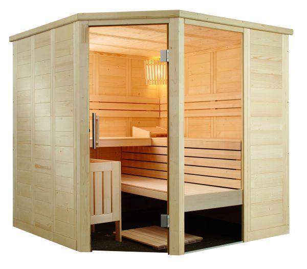 Sauna aus massiver Fichte Alaska Corner 206 x 206 x204cm Inneneinrichtung aus Linde