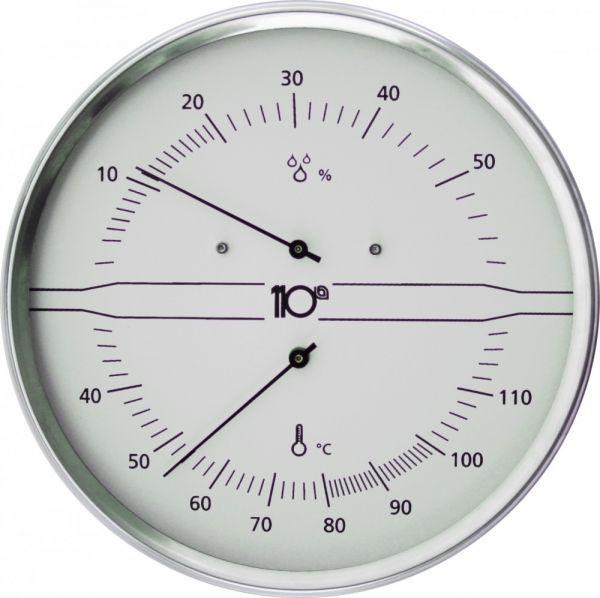 Thermo-Hygrometer rund 160mm aus Edelstahl, weiß