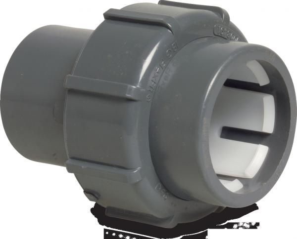 FlexFit Verschraubung PVC-D 50 mm - D 63 mm Klemm x Klebemuffe GRAU
