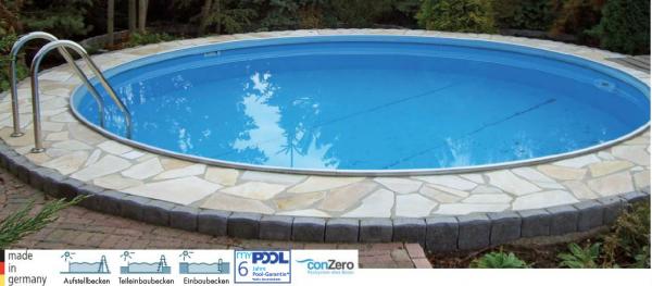 Poolset Premium Rund Ø3,50 - 5,00m x 1,20 oder 1,50m mit Sandfilter zum aufstell