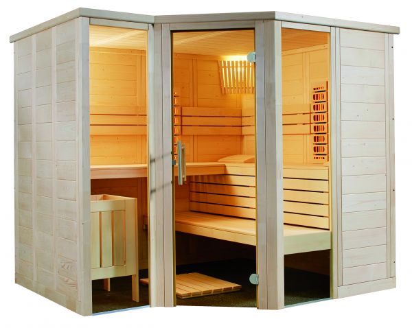 Saunakabine Alaska Corner Infra+ Exclusiv Set aus hochwertiger Fichte 206 x 206 x 204cm