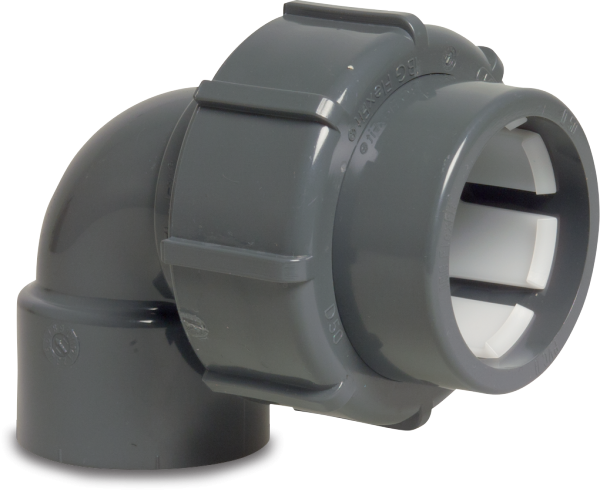FlexFit Winkel 90° PVC-D 50 mm - D 63 mm Klemm x Klebemuffe GRAU
