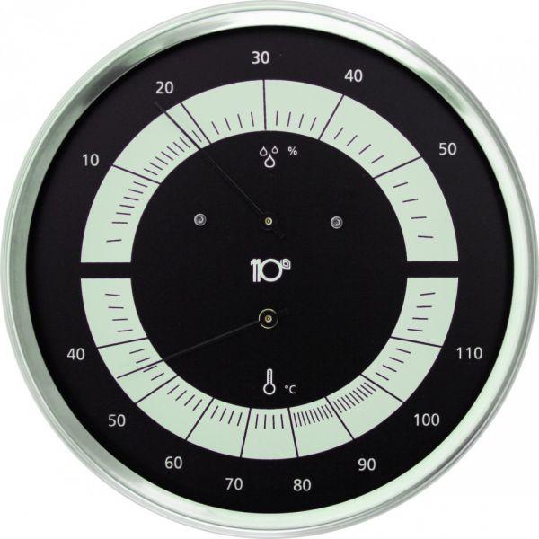 Thermo-Hygrometer rund 160mm aus Edelstahl, schwarz