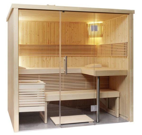 Sauna nordische Fichte Panorama Small 214 x 160 x 201cm Inneneinrichtung aus Linde