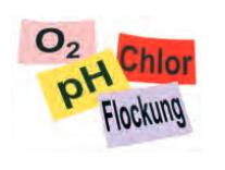 Aufkleber pH, Chlor, Flockung, O²