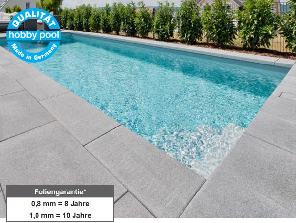 Achensee Iso Massiv Pool- Sets Rechteckig mit Folie 0,80mm (adriablau), Einbauteile, Filteranlage