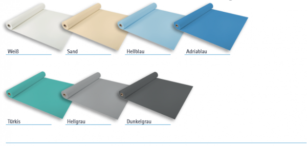 Gewebeverstärkte Folie 1,5mm 2,05m per Rolle 25lfm 51,25m² Adriablau