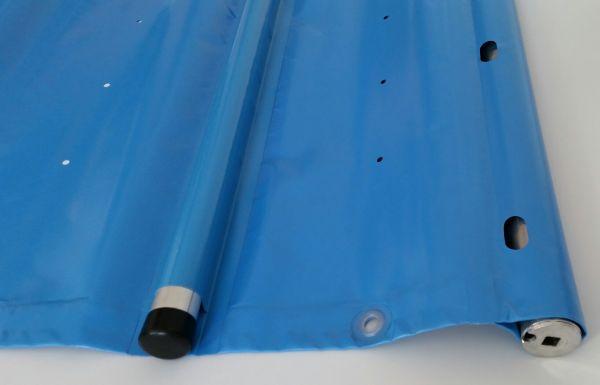 Rollabdeckplane auf Maß m² Modell light hellblau