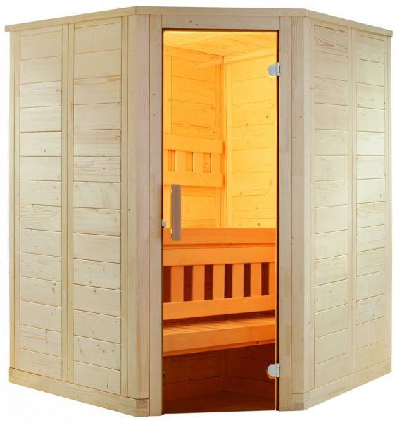 Sauna Wellfun Mini aus hochwertiger Linde 145x145x204 cm