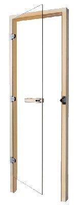 Saunatür DS40-650 klarglas 3-seitiger Rahmen, Bänder rechts oder links
