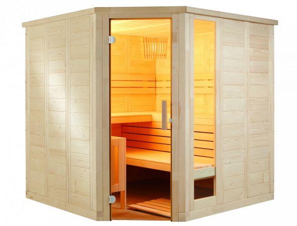 Saunakabine Komfort Corner Large aus massiver Fichte 234 x 206 x 204cm