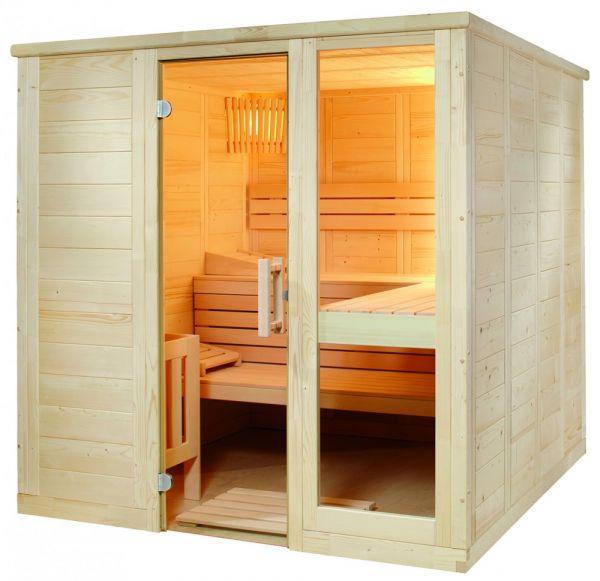 Saunakabine Komfort Large aus massiver Fichte 208 x 206 x 204cm