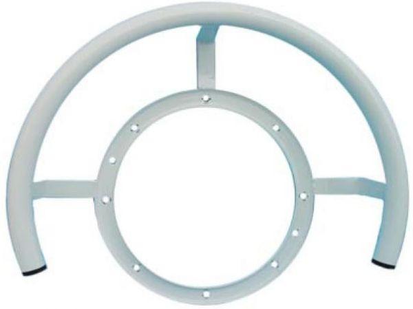 Rundhaltebügel inkl. Flansch für Gegenstromanlage, weiß beschichtet